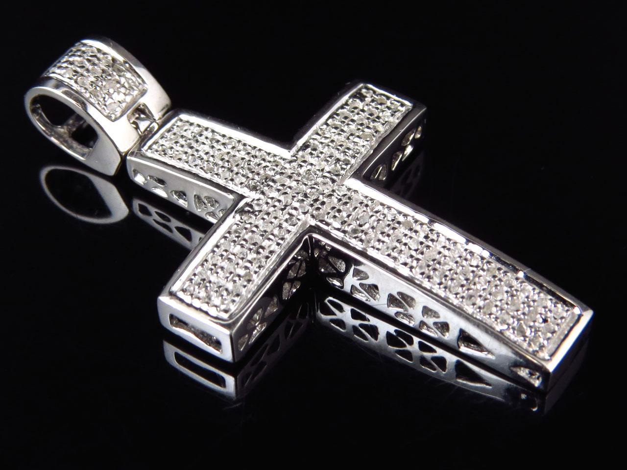 Genuine Diamond Mini Studded Pave Cross Pendant In White