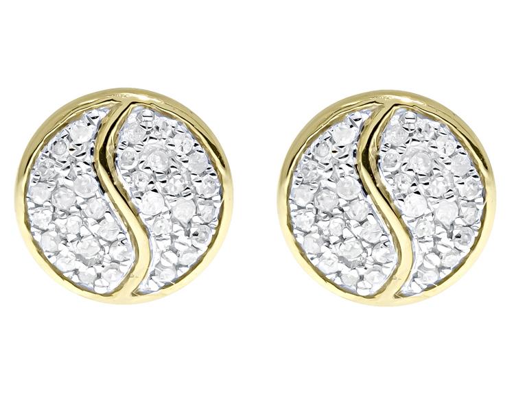 10k Yellow Gold Mens La s Round Diamond 9mm Yin Yang Studs