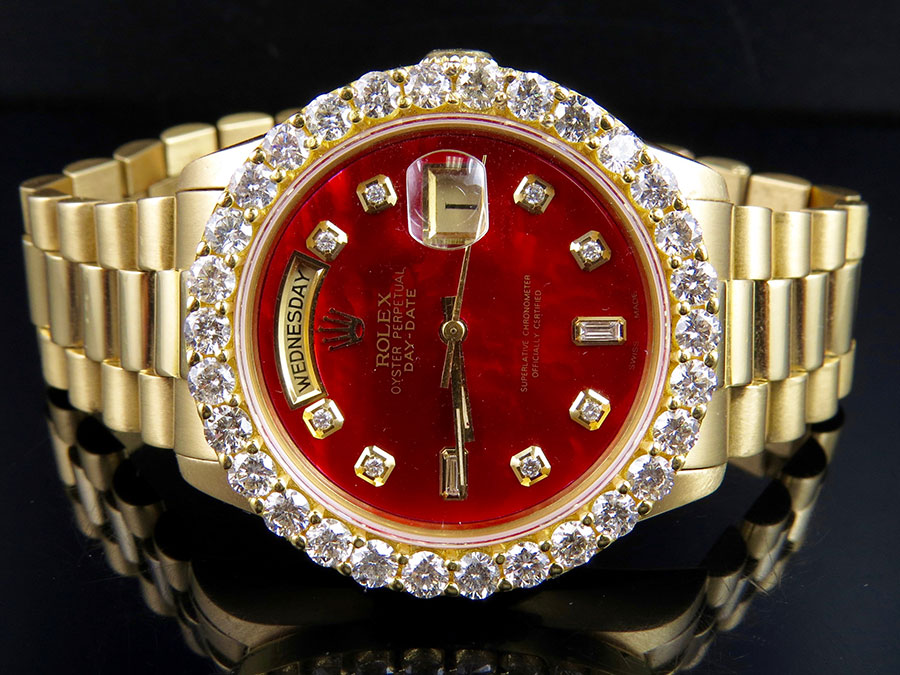 Details About 18k Mens Yellow Gold Rolex President Day Date 36mm Red Dial Diamond Watch 5 5 Ct