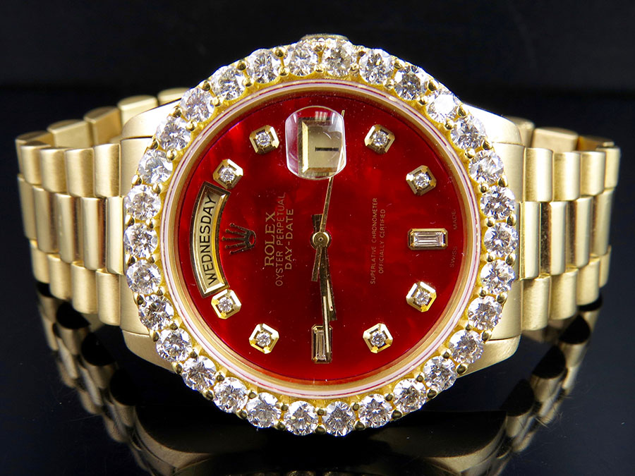 18k Mens Yellow Gold Rolex President Day Date 36mm Red