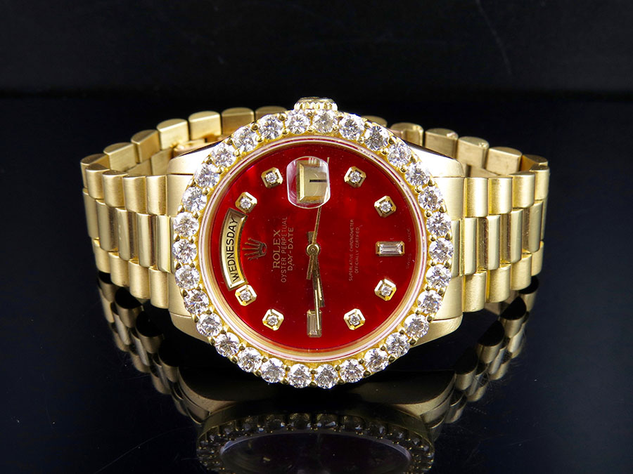 7d37e8181ae 18K Mens Yellow Gold Rolex President Day-Date 36MM Red Dial Diamond Watch  5.5 Ct