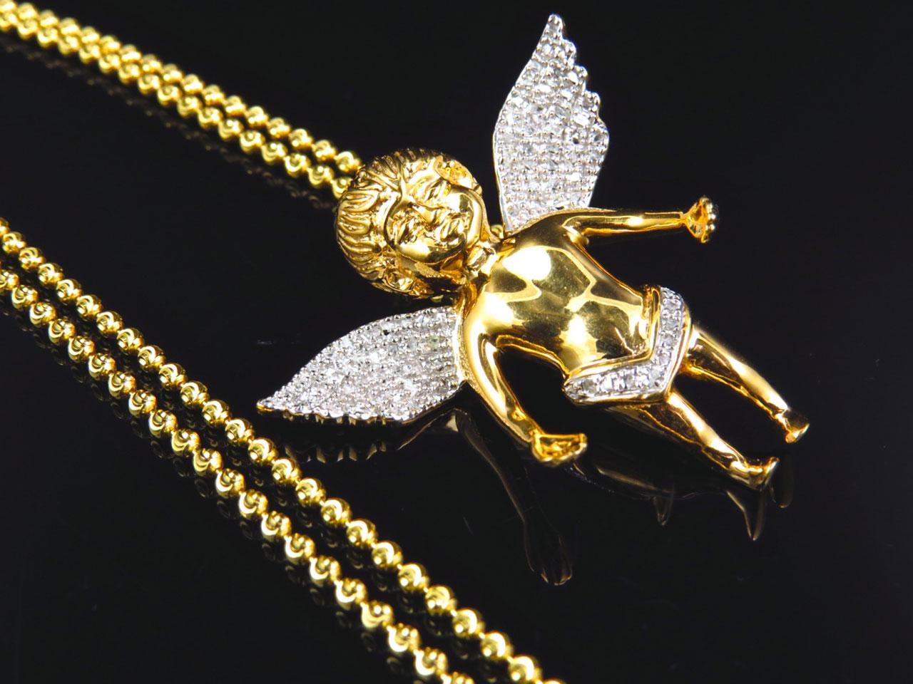 Genuine diamond chubby angel pendant charm chain 075 ct in yellow genuine diamond chubby angel pendant charm chain 075 ct in yellow gold finish ebay aloadofball Gallery
