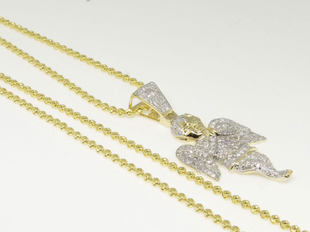 10k Yellow Gold Mini Angel Diamond Piece Pendant Charm W Moon Cut Chain