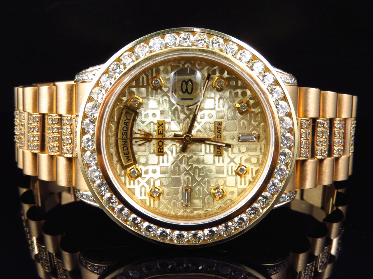 Details About 18k Yellow Gold Mens Rolex Presidential Day Date Diamond Bezel Watch 9 5 Ct