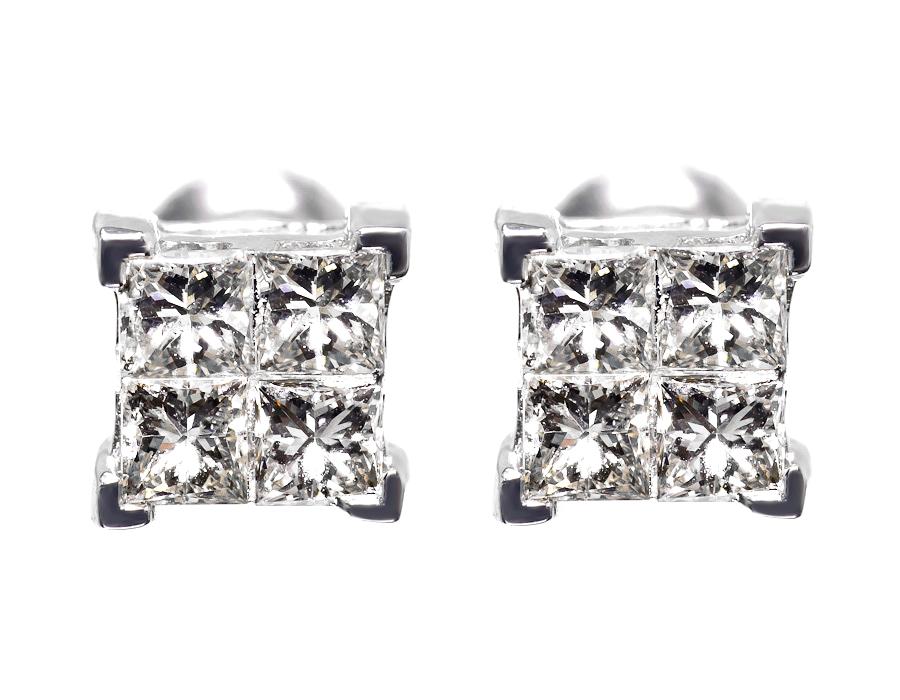 Mens Las 14k White Gold Princess Invisible Quad Diamond Studs Earrings 0 51ct