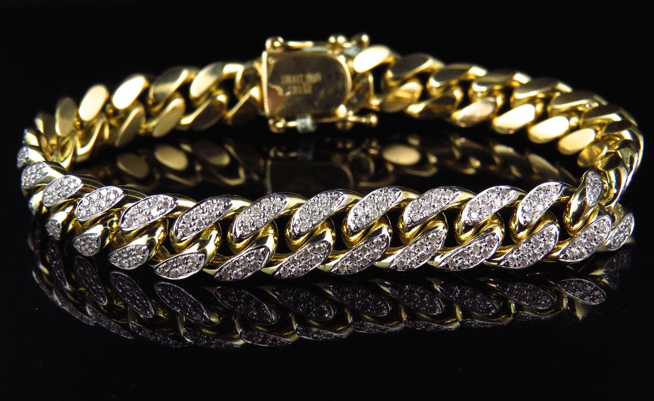 Mens Solid 10K Yellow Gold Miami Curb Cuban Link Diamond ...