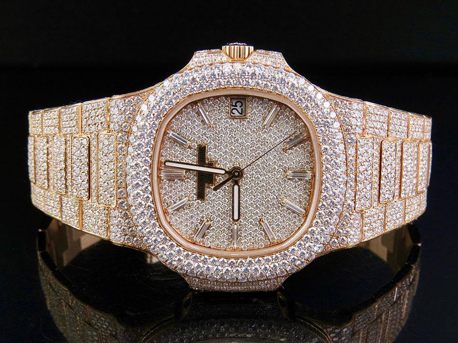 1094f6af2a7 18k Rose Gold Mens Patek Philippe Nautilus 5711 1R-001 Pave Set Diamond  Watch
