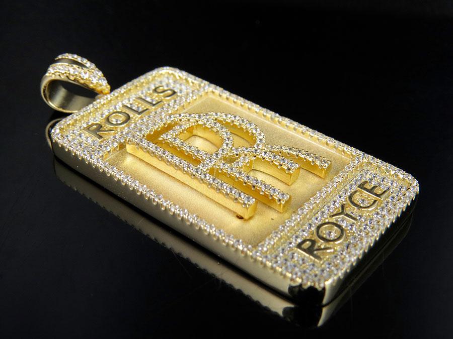 Mens yellow gold finish lab diamond rolls royce designer charm 925 sterling silver yellow gold finish lab diamond rolls royce pendant charm 2 aloadofball Choice Image