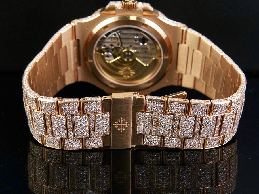 6e8b515a68e 18k Rose Gold Mens Patek Philippe Nautilus 5711 1R-001 Pave Set Diamond  Watch