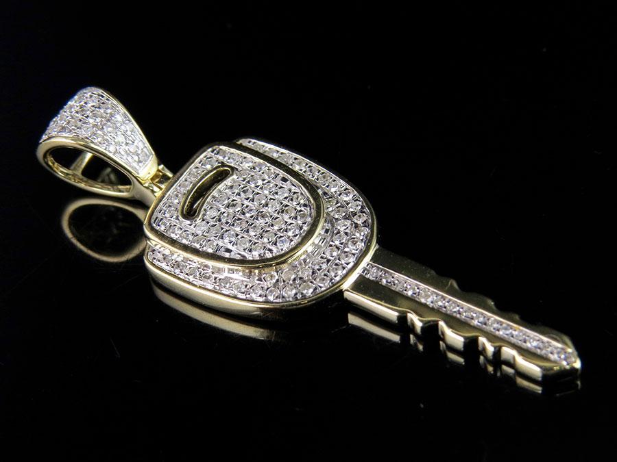 Mens 10k yellow gold genuine diamond car key pendant charm 050ct mens 10k yellow gold genuine diamond car key pendant charm 050ct 16 aloadofball Image collections