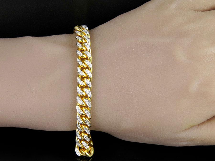 3fe5d6c4e25cd Details about Mens Solid 10K Yellow Gold Miami Cuban Link 9.5 MM Diamond  Bracelet 3.0 ct