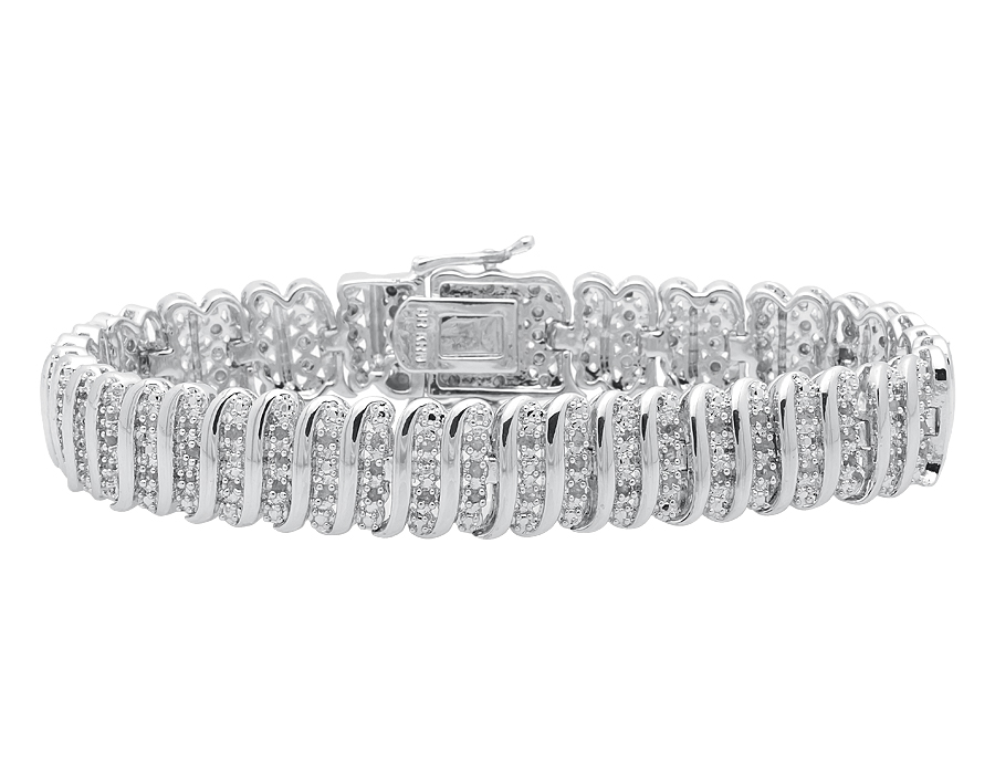 Details about Ladies S Style Real Genuine Diamond White Gold Finished 7 5  inch Bracelet 1 0ct