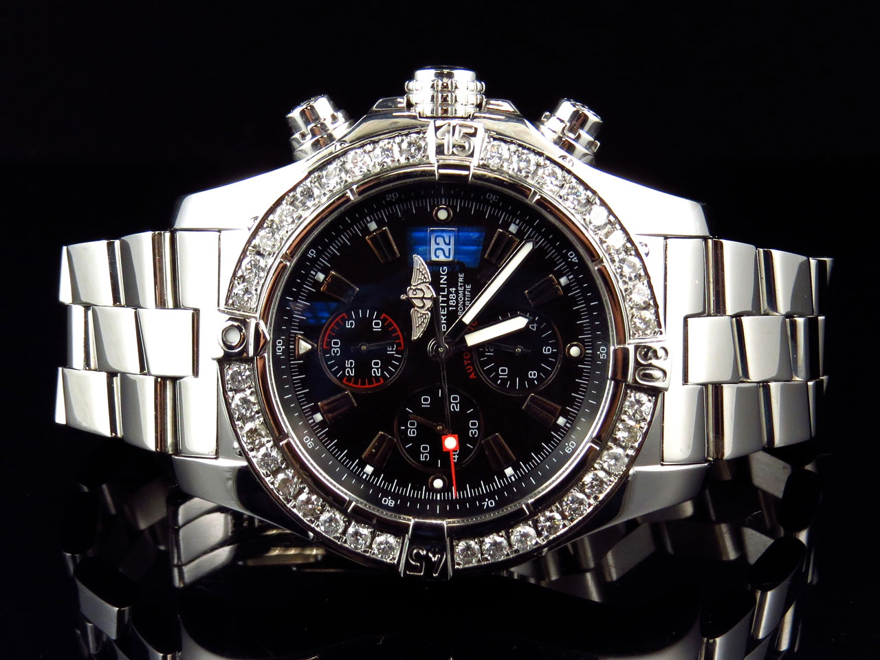 mens breitling diamond watch mens breitling a13370 super avenger xl 48mm stainless steel diamonds 4 ct
