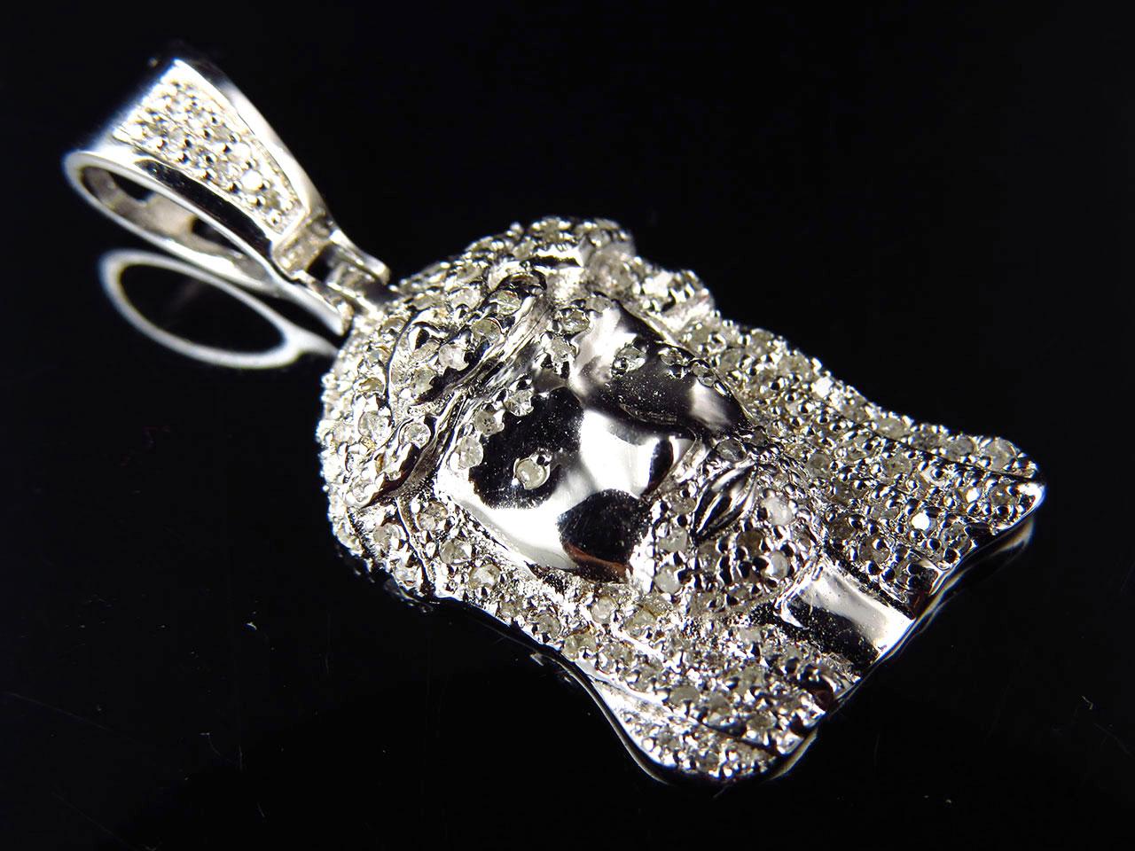 Genuine Diamond Mini Tear Drop Jesus Piece Pendant In White gold Finish 0.50Ct