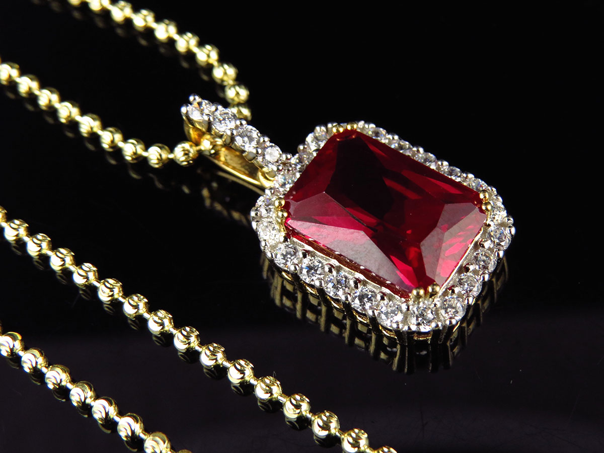 Mens Yellow Gold Finish .925 Sterling Silver Red Ruby Lab Diamonds Pendant Chain
