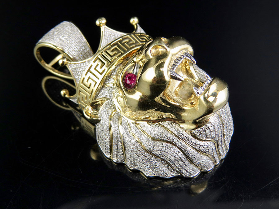 10k Yellow Gold 3D Roaring Lion Head Real Diamond Ruby Eyes