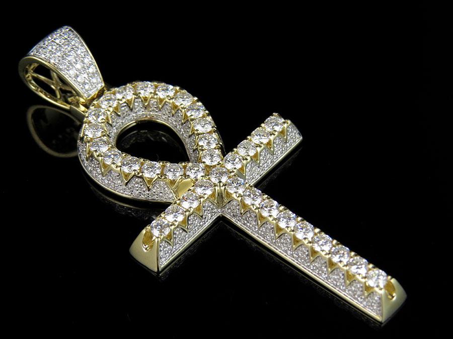 solid 10k yellow gold 3d egyptian ankh vs diamond cross charm