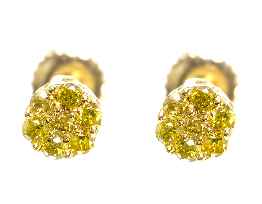 10k Yellow Gold Mens Las Round Canary Diamond Flower Cer Studs Earrings Ebay
