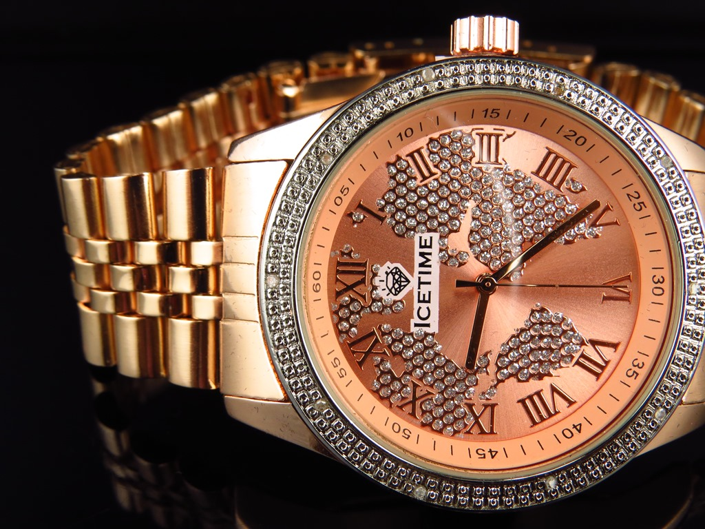 Unisex icetime continental world map diamond watch ctl 03 in rose genuine diamond bezel continental ice time watch ctl 02 in rose gold finish 10 ct gumiabroncs Image collections