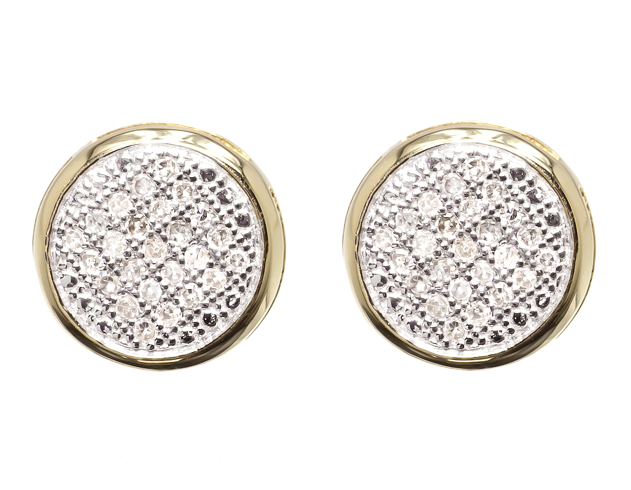 10k Yellow Gold Mens Las Round Diamond Pave 9mm Bezel Studs Earrings 1 3 Ct