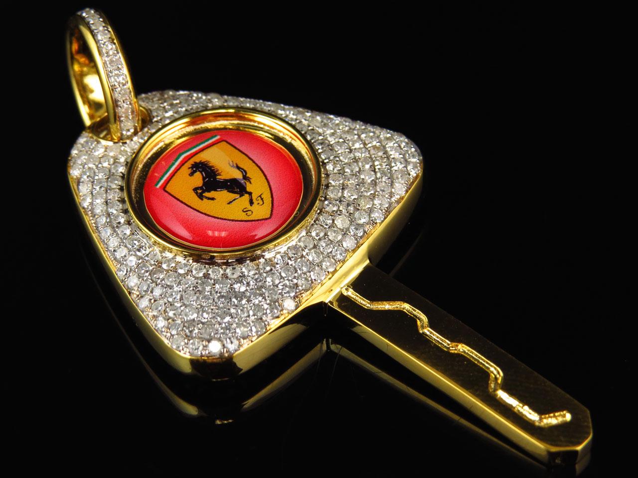 mens solid 10k yellow gold key pendant 2 5