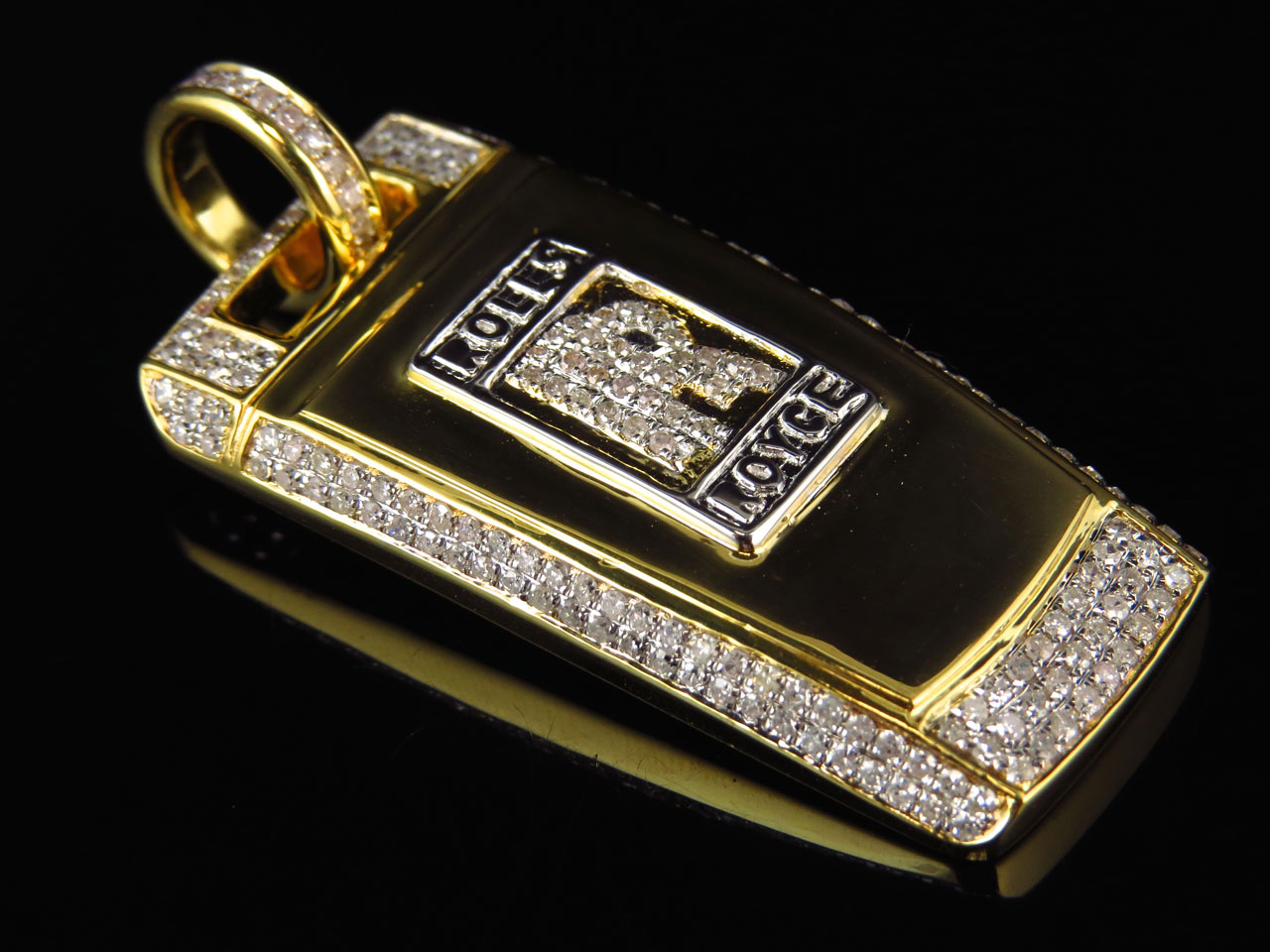 Mens Solid 10k Yellow Gold Rolls Royce Key Diamond Pendant ...
