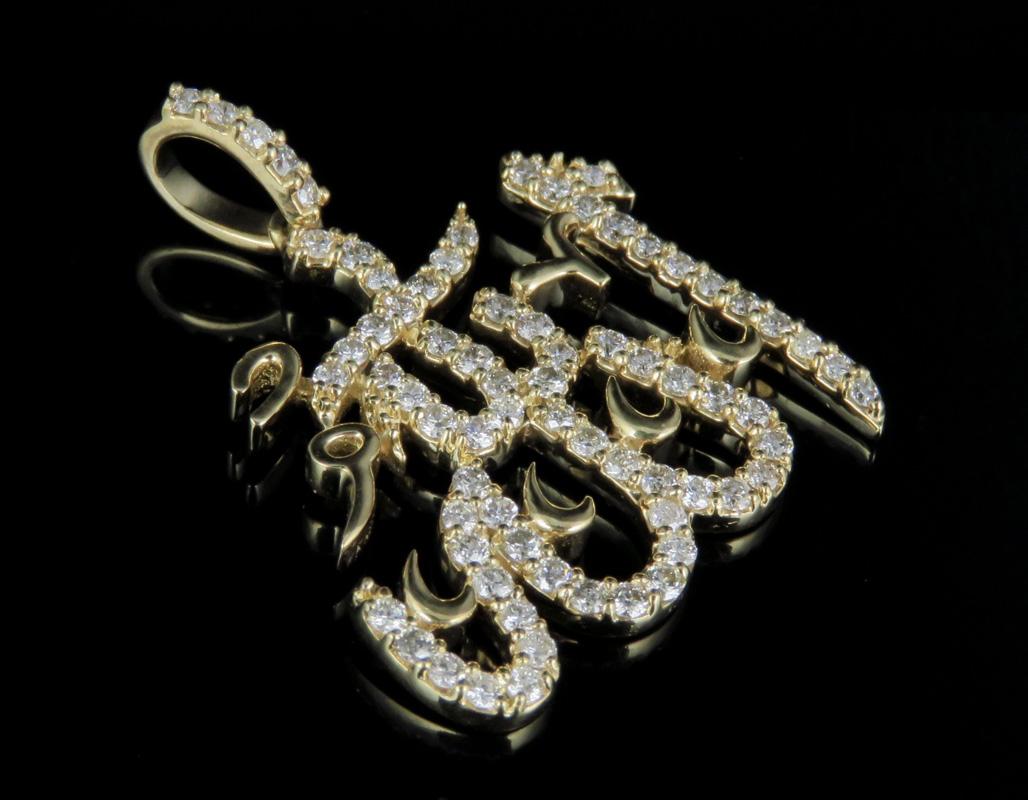 SOLID Real 10K yellow gold Moon /& Star Pendant Allah Islam Charm Jewelry Islamic