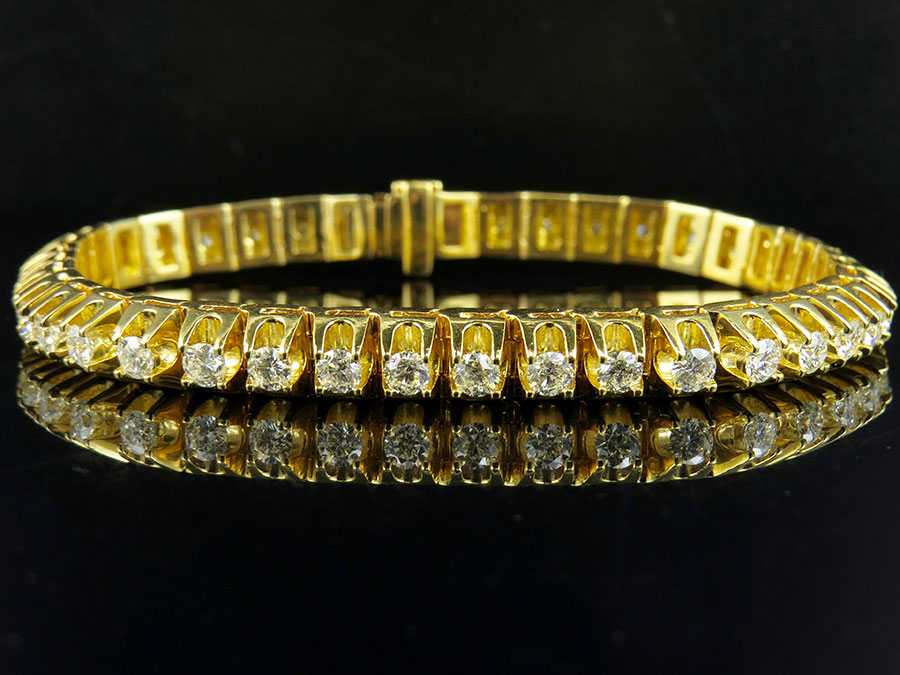 Mens Yellow Gold 4 Prong 3D Solid Tennis Diamond Bracelet 10 25 ct
