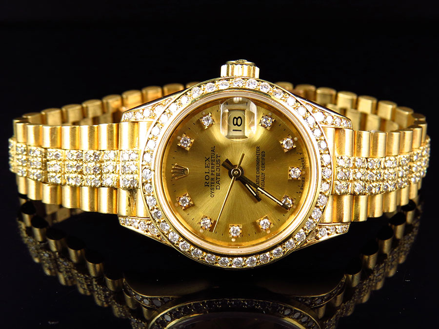 Details About Excellent Ladies 27 Mm Rolex President Datejust 18k Yellow Gold Diamond Watch