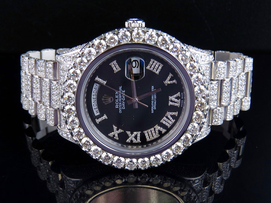 3321ddb57b05 Mens Rolex Day-Date 2 II 18k 41MM President 218239 White Gold Diamond Watch  30.5