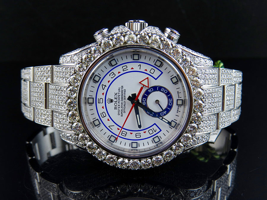 6a11c2f7d3b New Iced Mens 116680 Rolex Yacht Master II 44mm Oyster Diamond Watch 23.5 Ct
