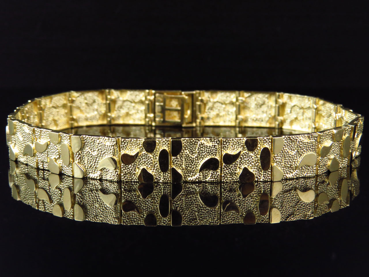 Mens And Ladies 10k Yellow Gold Nugget Style Link Designer