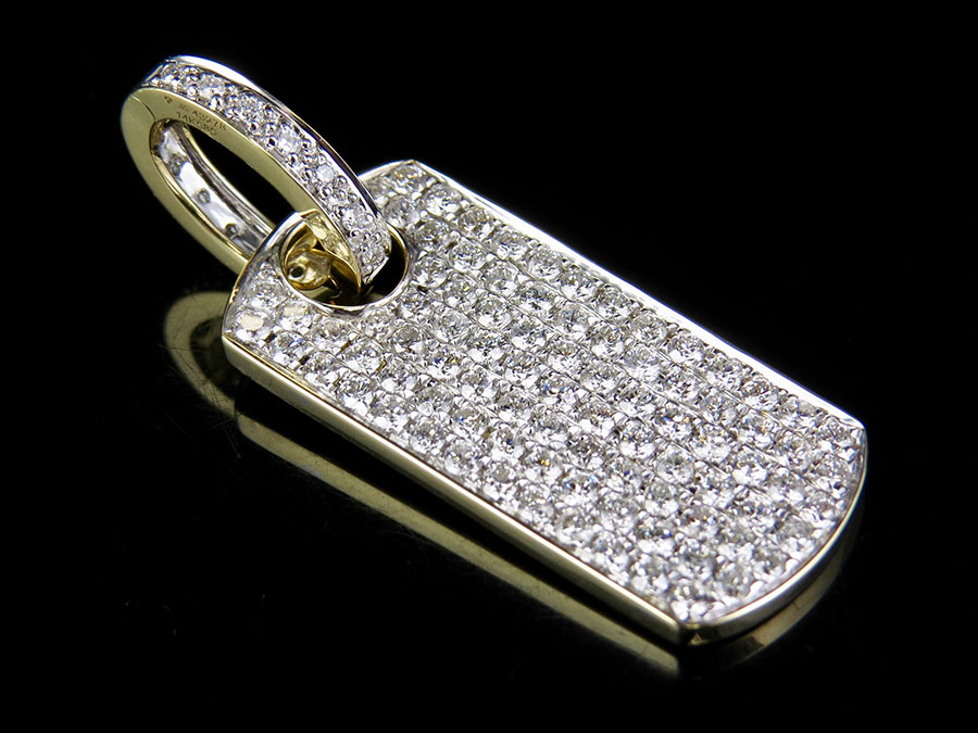 Solid 14K Yellow gold Iced Out Dogtag Genuine Diamond Pendant Charm 2.0ct 1.5
