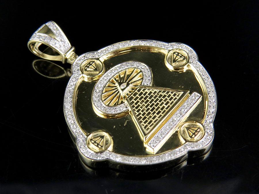 10k yellow gold real diamond illuminati all seeing eye pendant 7 10k yellow gold real diamond illuminati all seeing eye pendant 710 ct 175 mozeypictures Gallery