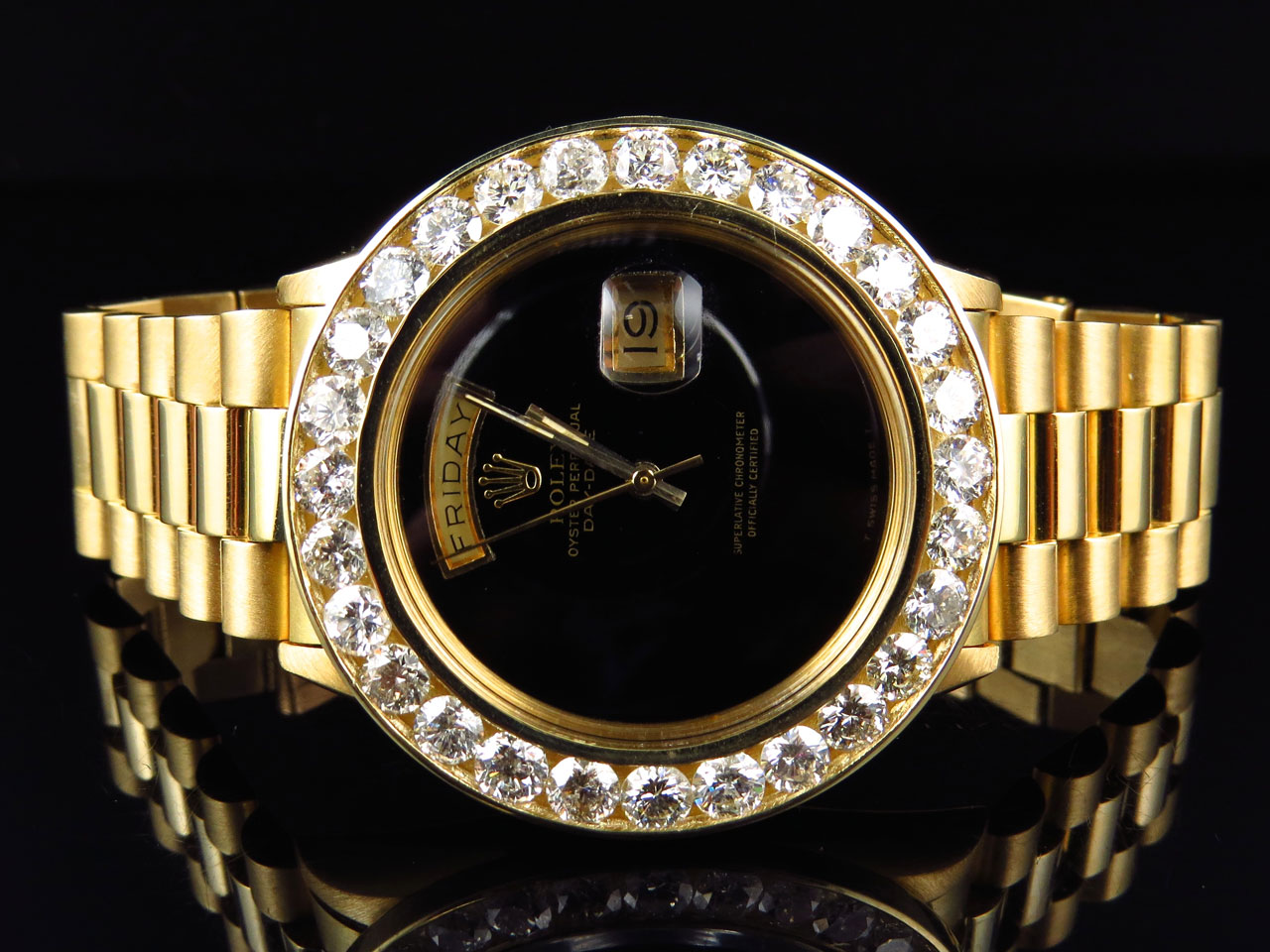 Details about 18k Yellow Gold Mens Rolex President Day,Date XL Diamond  Bezel Watch 7.2 Ct