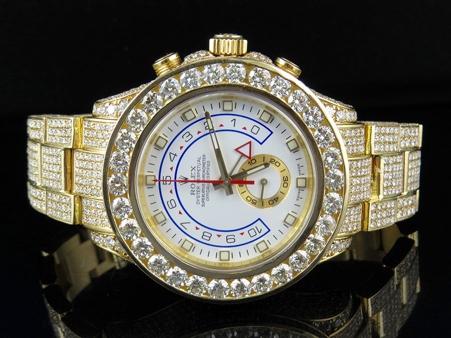 Details about 18K Yellow Gold Mens 116688 Rolex Yacht Master II 44mm  Diamond Watch 39.5 Ct