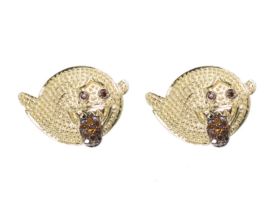 10k Yellow Gold Mens Las Round Red Diamond Cartoon Studs Earrings 0 25ct