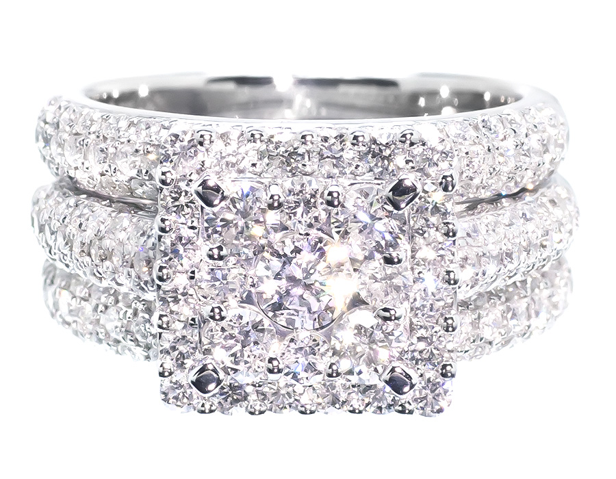 14k White Gold Ladies 3 Piece Halo Cluster Diamond Engagement Bridal