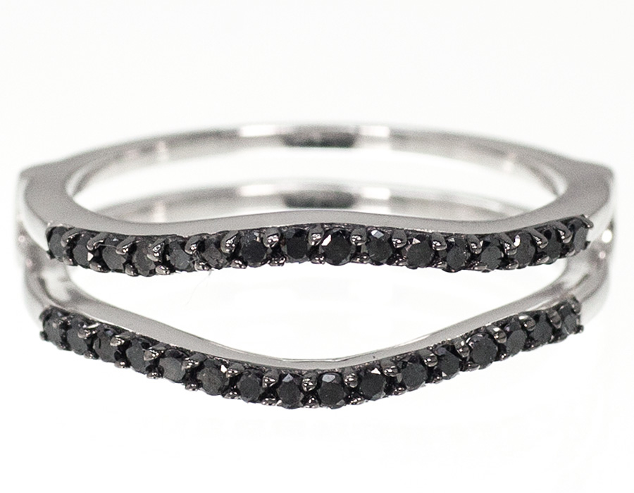 10k White Gold Black Diamond Solitaire Enhancer Wrap Jacket Ring