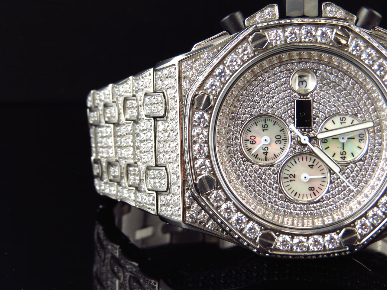 0f92efec87436 Details about Iced Mens Jewelry Unlimited Jojino Joe Rodeo Lab Diamond  Chronograph Watch 43MM