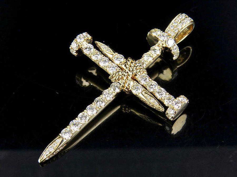 Mens solid 14k yellow gold real diamond nail cross pendant charm 4 mens solid 14k yellow gold real diamond nail cross pendant charm 4 12 ct 25 aloadofball Gallery