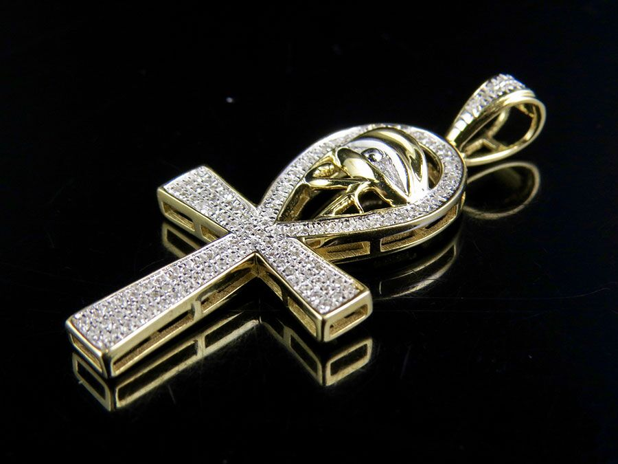 10k yellow gold genuine diamond eye of ra ankh cross pendant charm 1 10k yellow gold genuine diamond eye of ra ankh cross pendant charm 14 ct 15 aloadofball Images