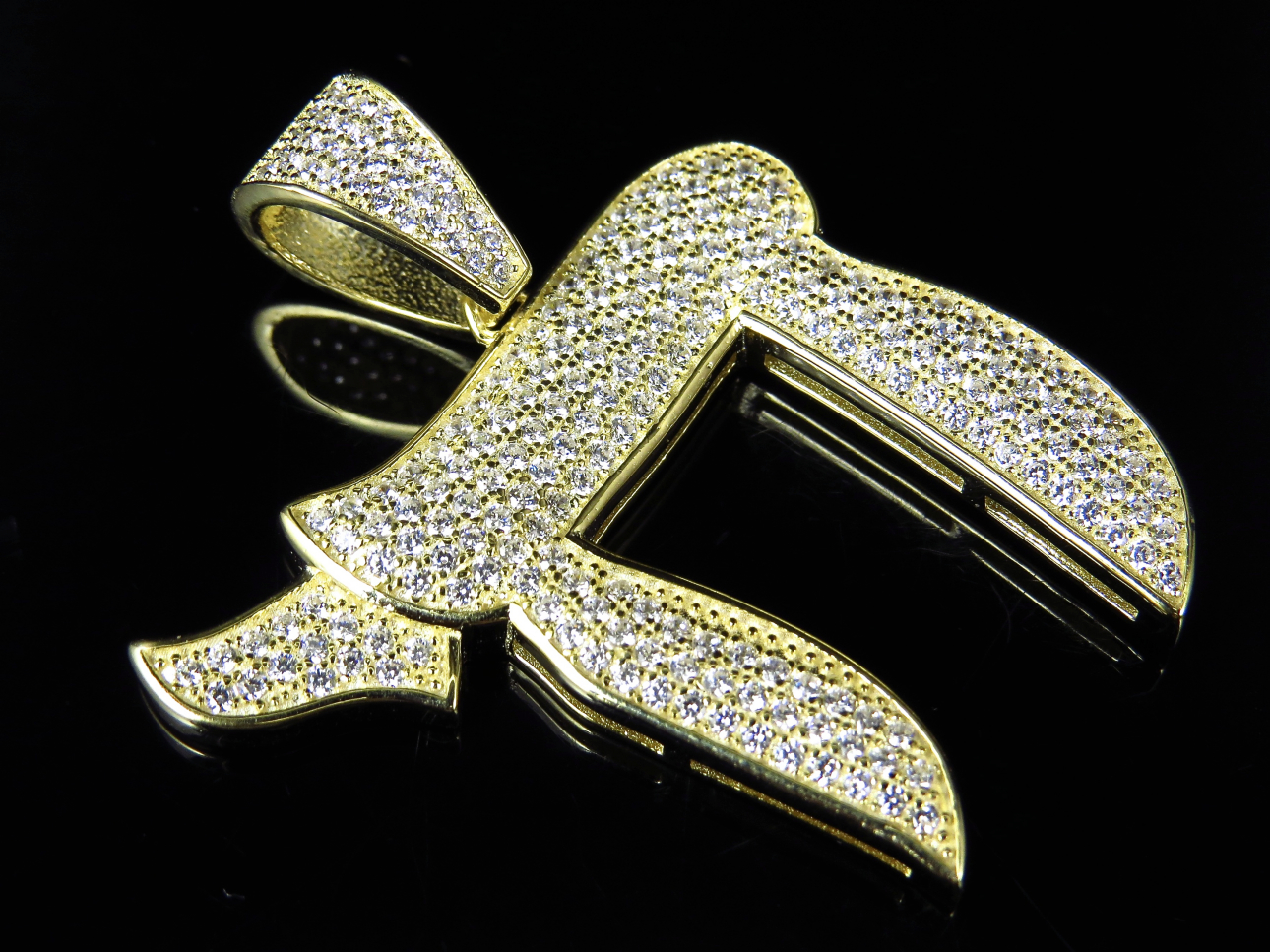 Sterling Silver Lab Diamond Jewish Chai Symbol Charm In Yellow Gold
