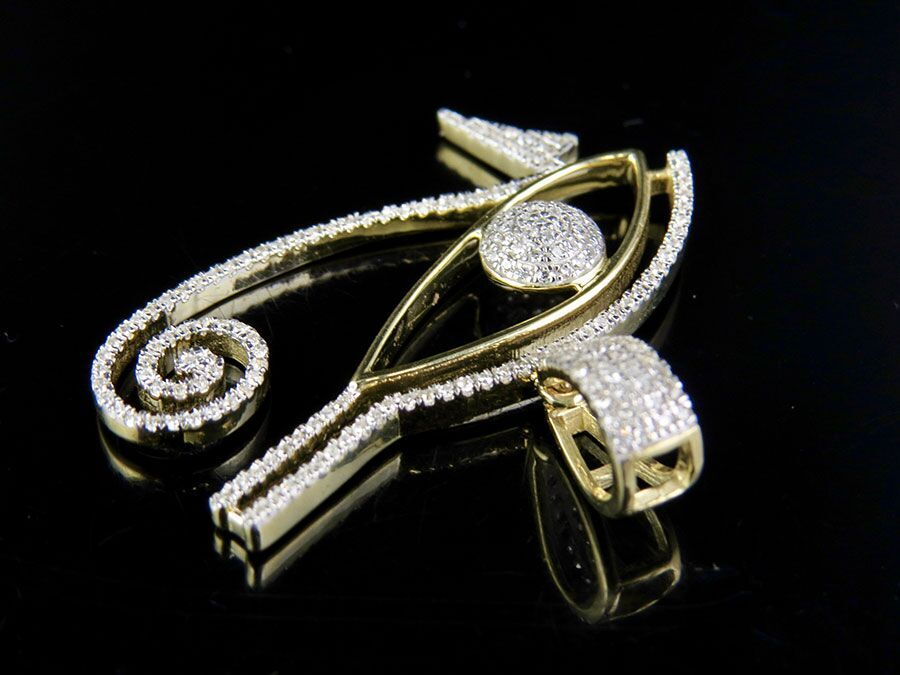 Mens 10k yellow gold genuine diamond eye of horus pendant charm 12 mens 10k yellow gold genuine diamond eye of horus pendant charm 12 ct 125 mozeypictures Image collections