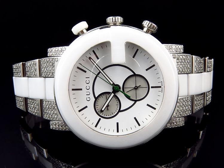 bf3a3b937c9 New Custom Mens White Ceramic PVD G 101 Gucci YA101345 44 MM Diamond Watch  6.5Ct