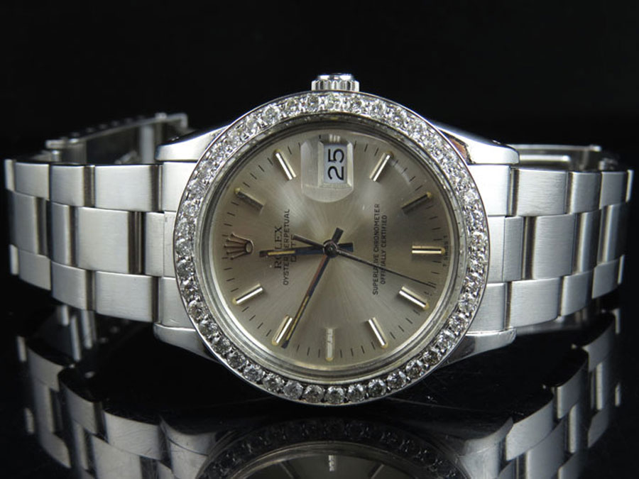 79bd5e4235a Original Rolex Date 15010 Oyster 34MM Unisex Champagne Dial Diamond Watch  2.5 Ct