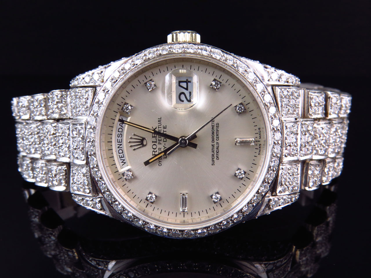 18k white gold mens rolex presidential day date diamond. Black Bedroom Furniture Sets. Home Design Ideas