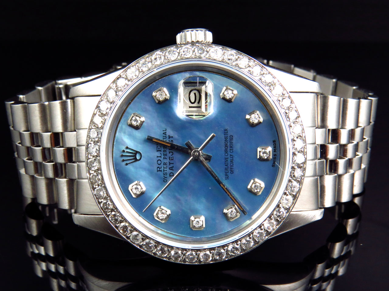 Mens Rolex Datejust Oyster Stainless Steel Blue Pearl