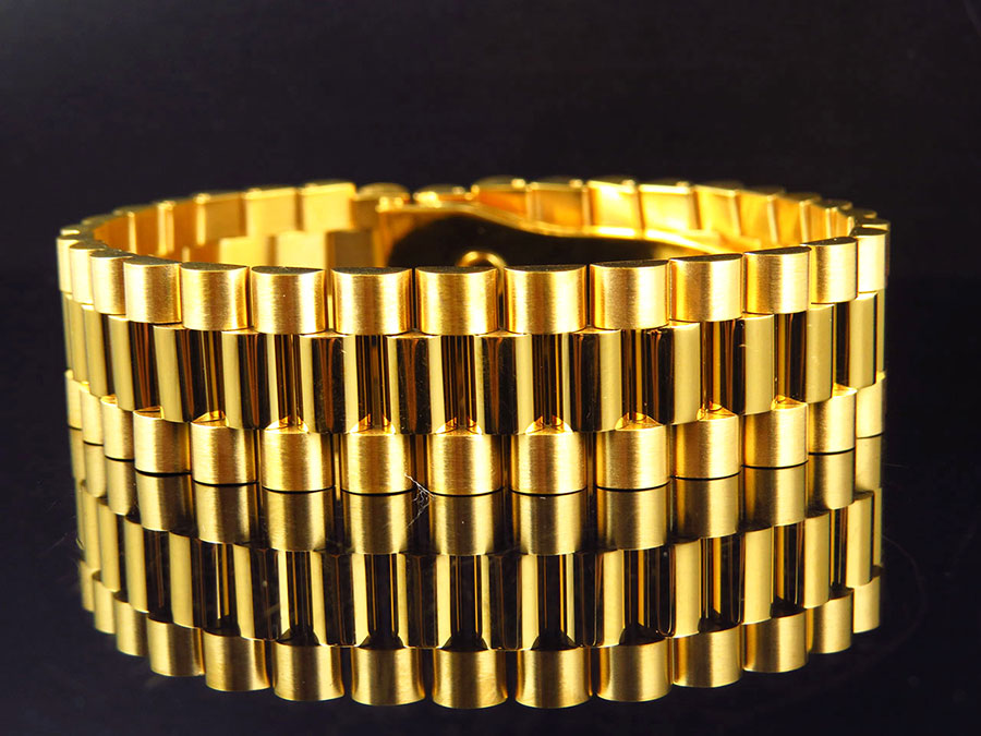 New Yellow Gold Finish Stainless Steel Presidential Solid Design Bracelet 18MM