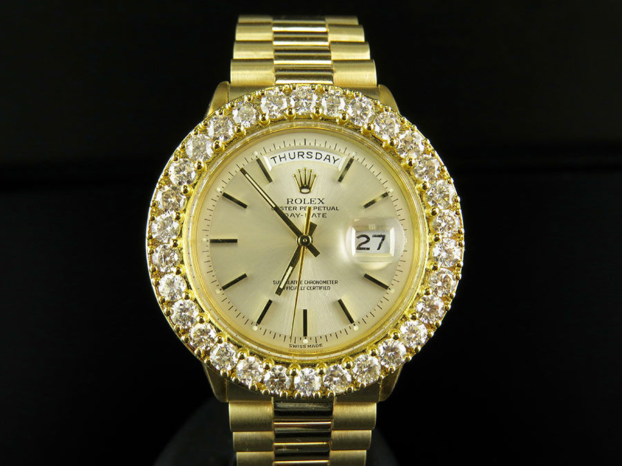 18k mens yellow gold rolex presidential day date 36mm diamond 18k mens yellow gold rolex presidential day date 36mm diamond watch 7 5 ct